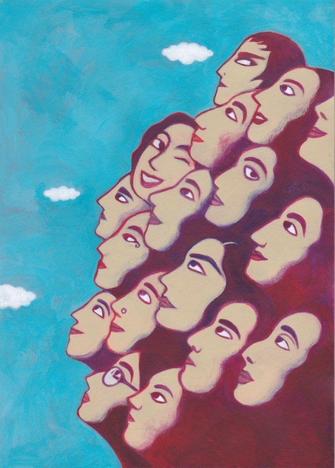 Seventeen faces painted clustered together. They all emerge from the bottom left corner of the image and tilt upwards, only their profiles visible. In the background, the blue sky and white clouds. Some smile, others looks serious, one winks. One wears glasses, another a nose ring.