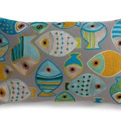 Mid Century Style Sofa Canada White Slipcovered Living Room Fashion Fish Blue-green 16