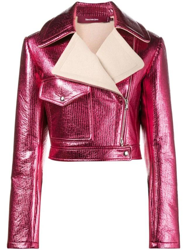 Sies Marjan - Pink Metallic cropped lurex biker jacket, $1077