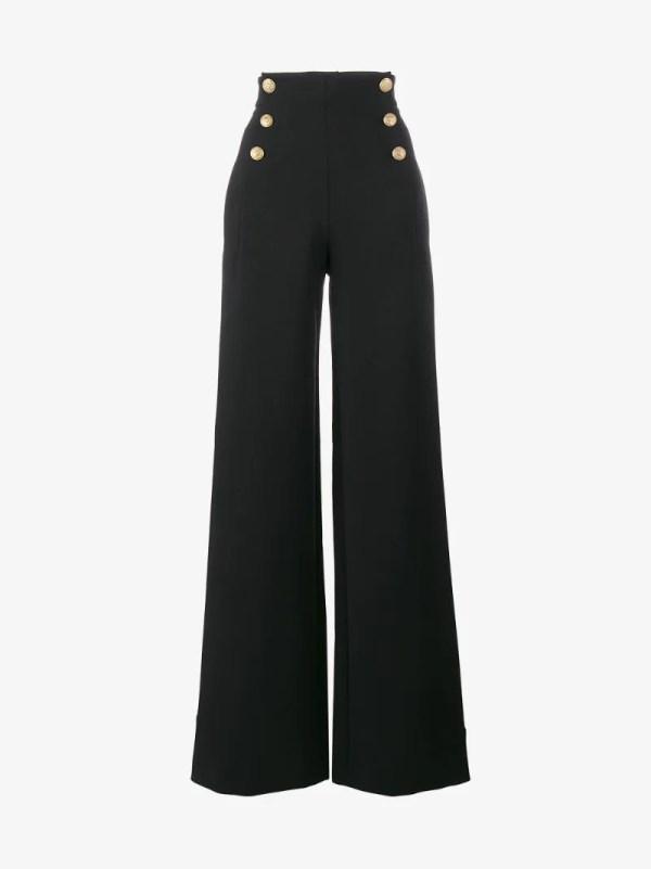 Alberta Ferretti High Waisted Sailor Button Trousers In