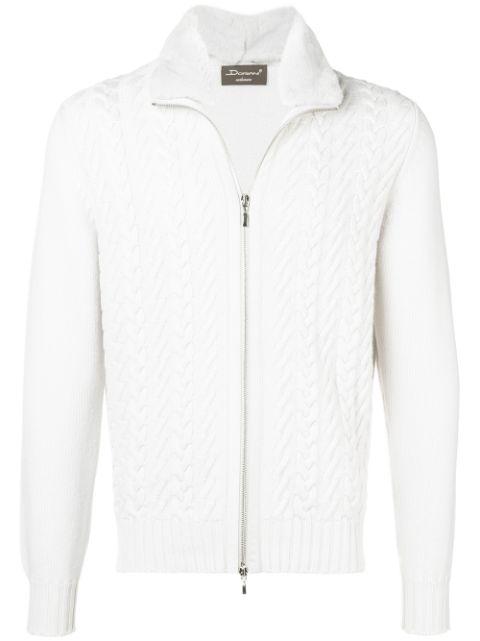 Doriani Cashmere cashmere cable knit zip sweater $733