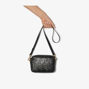 Fendi Womens Black Logo Embossed Leather Camera Bag