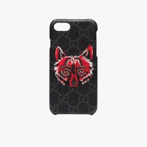 Gucci Mens 101 - Black Iphone 8 Wolf Motif Phone Case