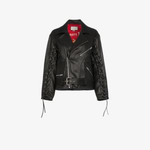 Gucci Womens Black Mushroom Print Leather Biker Jacket