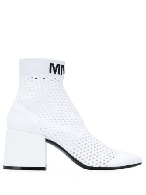 Mm6 Maison Margiela Block-Heel Knit Ankle Boots In White