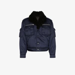 Prada Mens Blue Sheepskin Collar Military Bomber Jacket