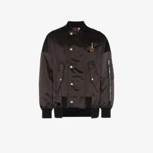 Moncler Genius Mens Black X Palm Angels Spray-paint Logo Bomber Jacket