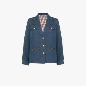 Gucci Womens Blue Engraved Button Denim Jacket