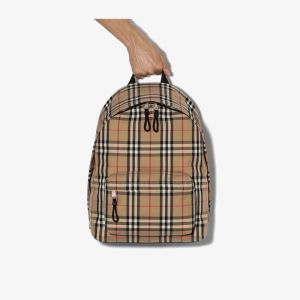 Burberry Mens Neutrals Beige Vintage Check Cotton Backpack
