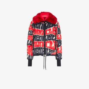 Moncler Grenoble Womens Red Printed Logo Puffer Jacket