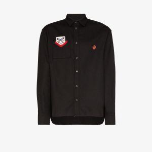 Boramy Viguier Mens Black Card Patch Cotton Shirt