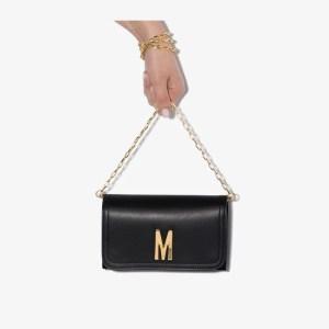 Moschino Womens Black M Logo Leather Mini Bag