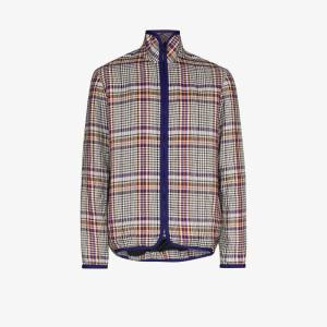 Lou Dalton Mens White Checked Bomber Jacket