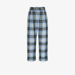 Shrimps Womens Blue Houston Checked Trousers