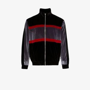 Koché Mens Black Zipped Velvet Track Jacket