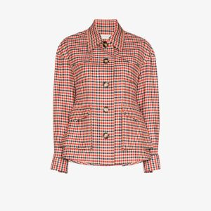 Wales Bonner Womens Red Military Four Pocket Check Jacket