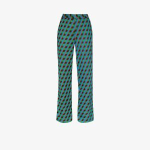 Wales Bonner Womens Blue Samba Geo Print Wide Leg Trousers
