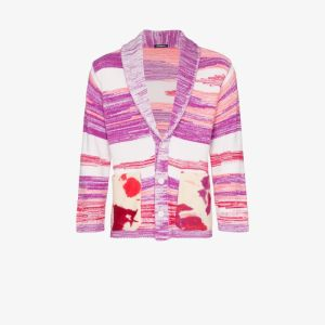 Canessa Mens Pink Sciamanic Intarsia Knit Cardigan