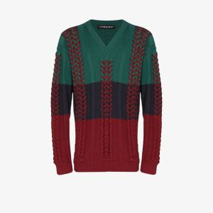 Y/project Mens Green Braid Knitted Sweater