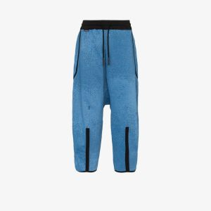 Byborre Mens Blue Dropped Crotch Oversized Trousers