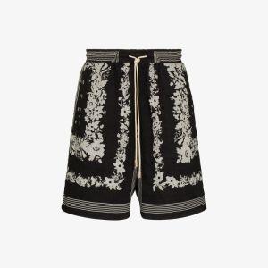 Nanushka Mens Black Doxxi Floral And Bandana Print Shorts