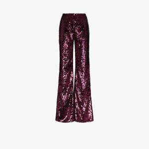Halpern Womens Pink Sequin Flared Trousers