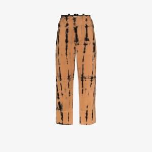 Pronounce Mens Black Tie-dye Straight Leg Trousers