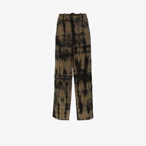 Pronounce Mens Green Tie-dye Straight Leg Trousers