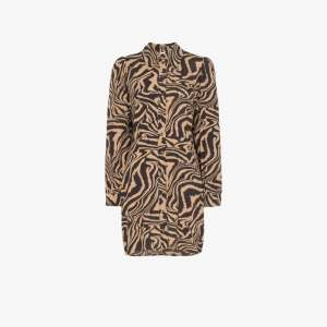 Ganni Womens Brown Zebra Print Shirt Dress