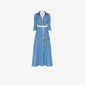 Evi Grintela Womens Blue Ben Youssef Striped Shirt Dress