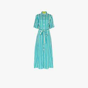 Evi Grintela Womens Blue Sunflower Striped Linen Shirt Dress