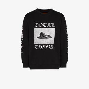 Vyner Articles Mens Black Total Chaos Print Cotton Sweatshirt