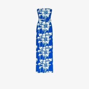 Bernadette Womens Blue Carrie Daisy Print Sleeveless Maxi Dress