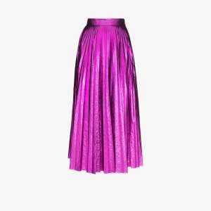 Christopher Kane Womens Pink Pleated Metallic Midi Skirt