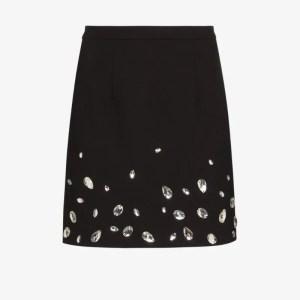 Christopher Kane Womens Black Crystal Gem Mini Skirt