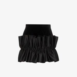 Christopher Kane Womens Black Frill Trim Velvet Mini Skirt