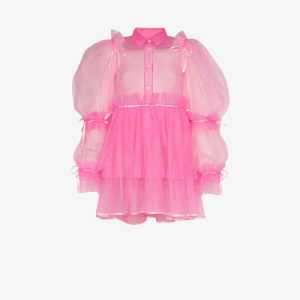 Viktor & Rolf Womens Pink Mary Darling Pouf Sleeve Tulle Dress