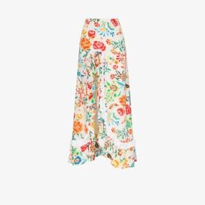 All Things Mochi Womens White Clara Floral Print Maxi Skirt