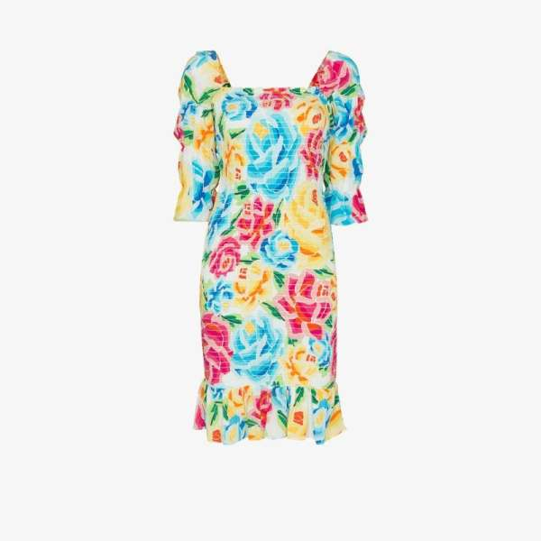 All Things Mochi Womens White Marianna Floral Print Dress