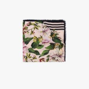 Dolce & Gabbana Womens Pink Multicoloured Floral Print Scarf