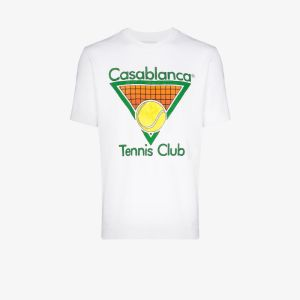 Casablanca Mens White Tennis Club Cotton T-shirt