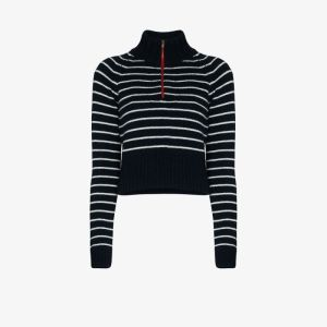 By Any Other Name Womens Blue Striped Zip Neck Cashmere Sweater