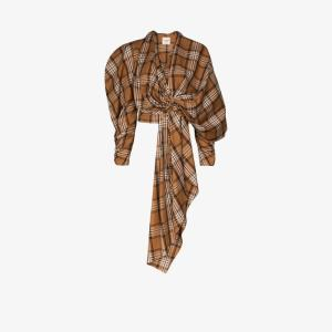 A.w.a.k.e. Mode Womens Brown Check Gathered Cropped Top