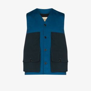 Nicholas Daley Mens Blue Two Tone Buttoned Gilet