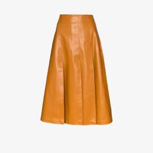 A.w.a.k.e. Mode Womens Brown Vegan Leather Midi Skirt