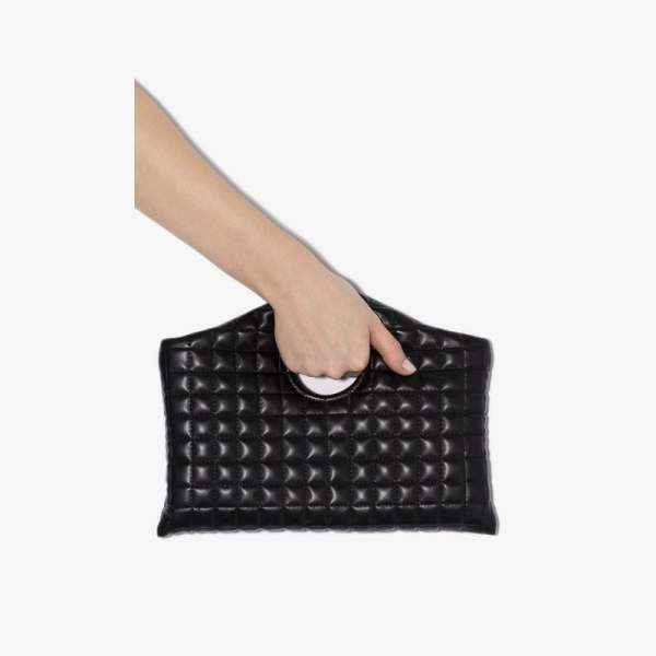 A.w.a.k.e. Mode Womens Black Anouk Quilted Vegan Leather Clutch Bag