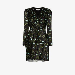 Borgo De Nor Womens Black Carnation Print Mini Dress