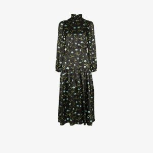 Borgo De Nor Womens Black Eugenia Floral Print Midi Dress