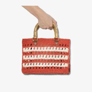 Mehry Mu Womens Red And White Lucia Mini Raffia Bag