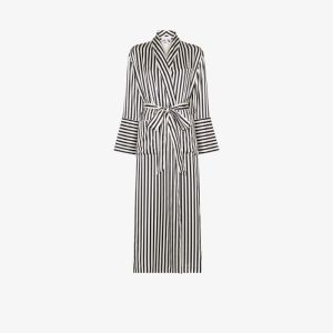 Olivia Von Halle Womens White Capability Long Striped Silk Robe